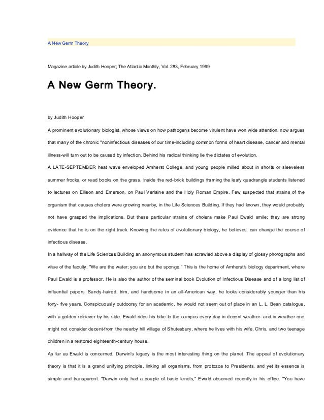 A New Germ TheoryMagazine article by Judith Hooper; The Atlantic Monthly, Vol. 283, February 1999A New Germ Theory.by Judi...