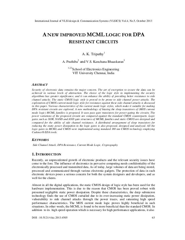 A new improved mcml logic for dpa resistant circuits