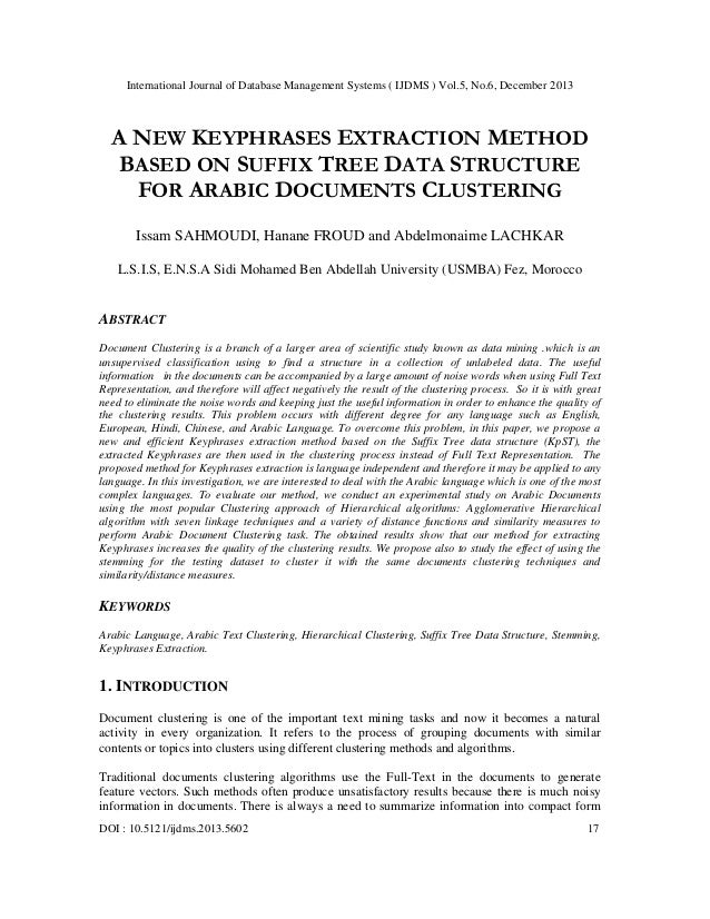 A new keyphrases extraction method based on suffix tree data structure for arabic documents clustering