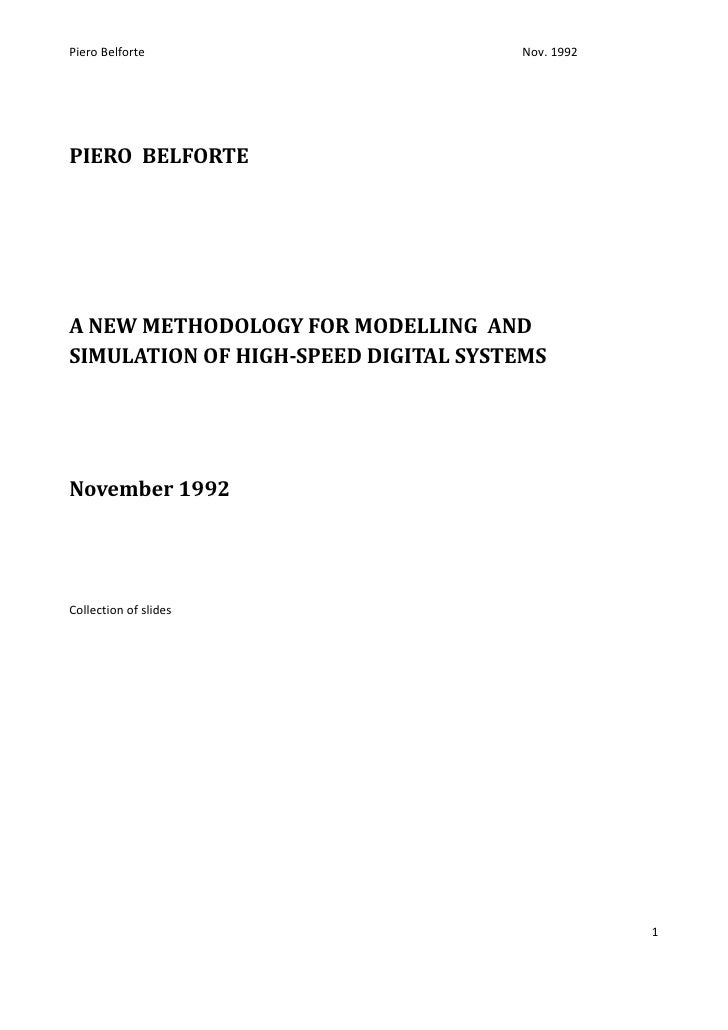 A New Methodology For Modelling And Simulation Of High Speed Digital Systems Nov.1992