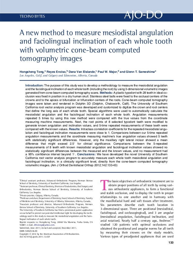 A new method to mesure mesiodistal angulation and faciolingual with cbct