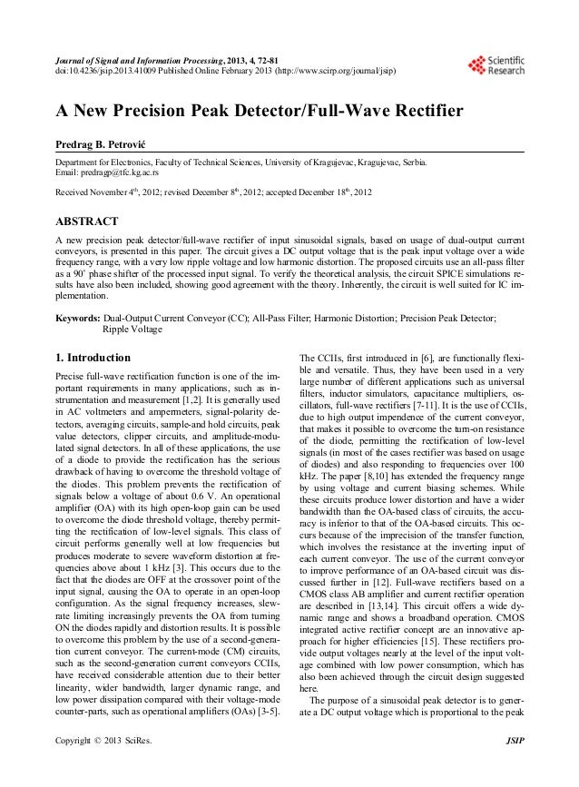 A new precision peak detector full wave rectifier