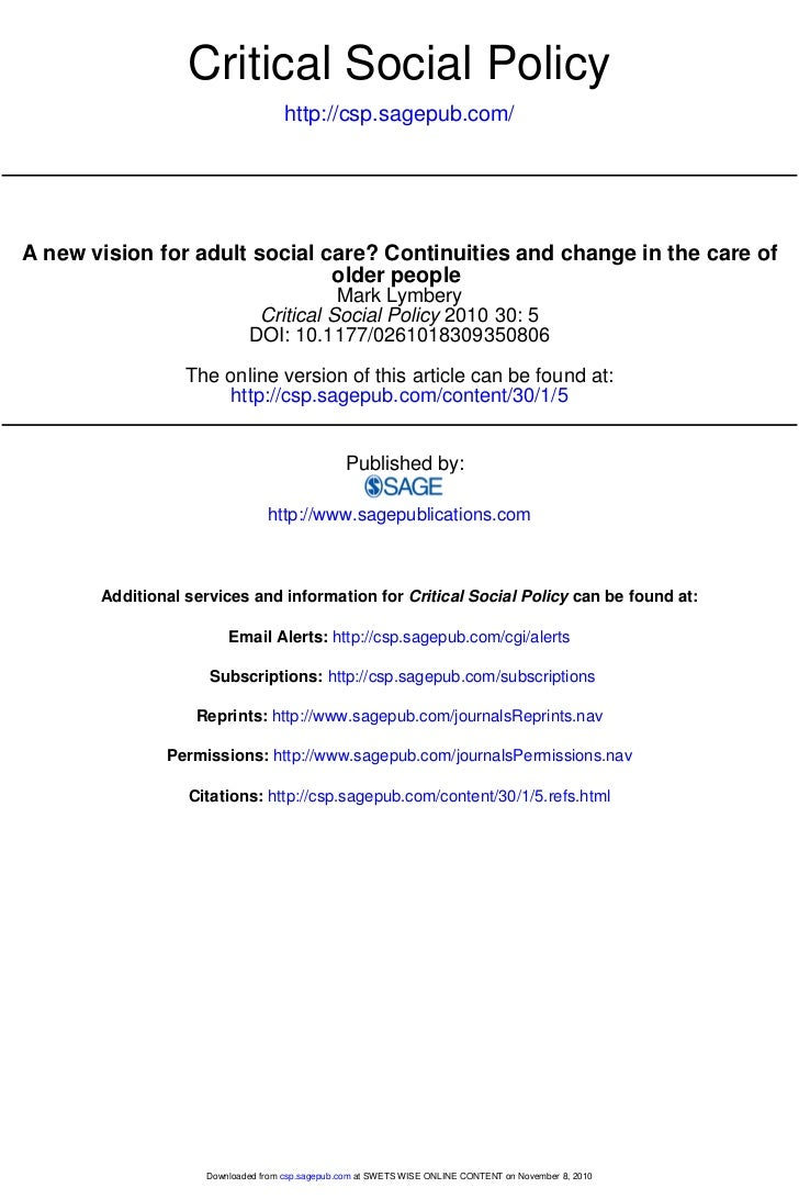 Critical Social Policy                                    http://csp.sagepub.com/A new vision for adult social care? Conti...