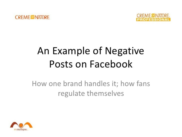 An Example of Negative Posts on Facebook<br />How one brand handles it; how fans regulate themselves<br />