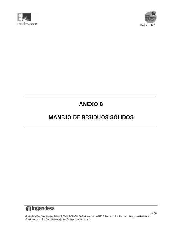 Página 1 de 1                                          ANEXO B                  MANEJO DE RESIDUOS SÓLIDOS                ...