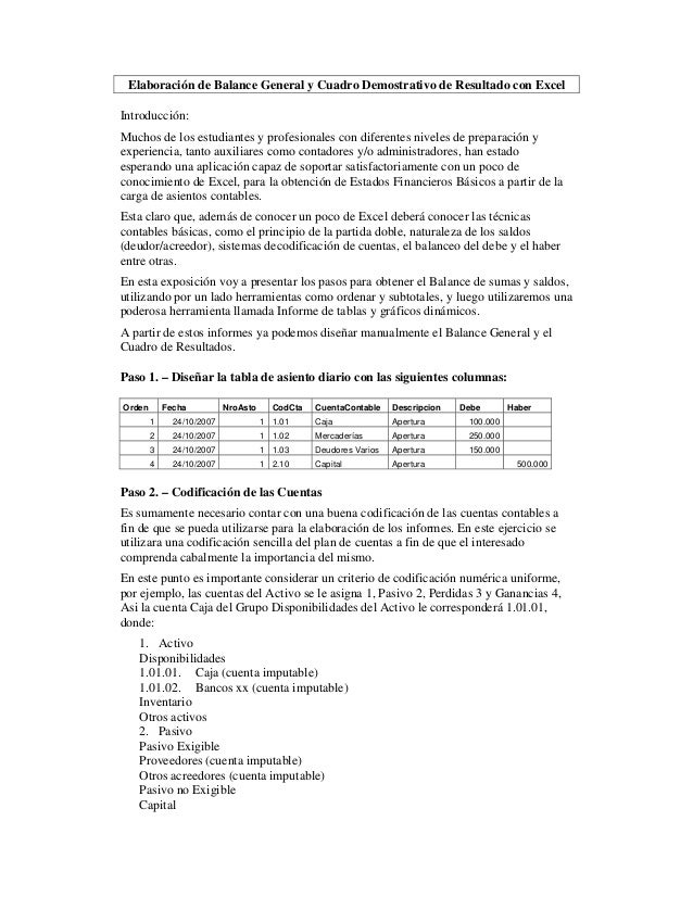 Elaboración de Balance General y Cuadro Demostrativo de Resultado con ExcelIntroducción:Muchos de los estudiantes y profes...