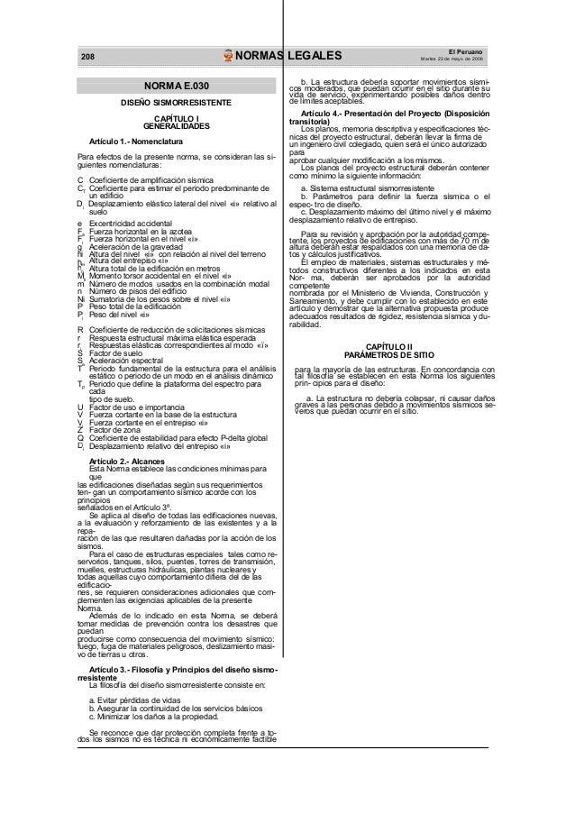 El Peruano Martes 23 de mayo de 2006NORMAS LEGALES208 h h M P r S V D CT F F a i ei n ti i i a TP i i NORMA E.030 DISEÑO S...