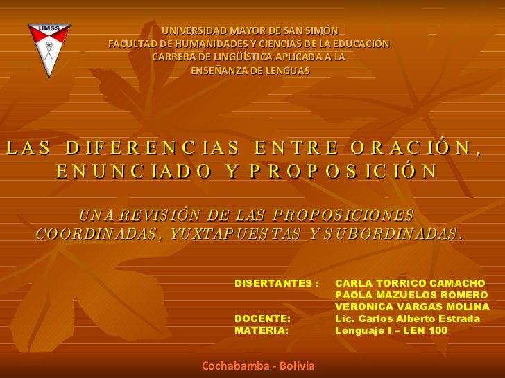 LAS DIFERENCIAS ENTRE ORACIÓN,  ENUNCIADO Y PROPOSICIÓN UNA REVISIÓN DE LAS PROPOSICIONES  COORDINADAS, YUXTAPUESTAS Y SUB...