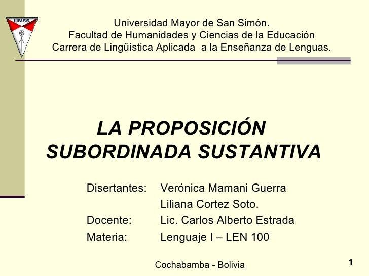 Universidad Mayor de San Simón. Facultad de Humanidades y Ciencias de la Educación Carrera de Lingüística Aplicada  a la E...