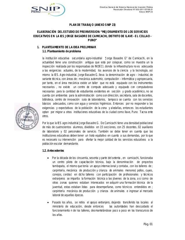Directiva General del Sistema Nacional de Inversión Pública Resolución Directoral N° 003-2011-EF/68.01 Anexo SNIP 23  PLAN...