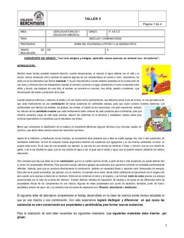 """TALLER 5 Página 1 de 4 HORIZONTE DE GRADO: """"con mis amigos y amigas, aprendo cosas nuevas, en armoní con mi entorno"""". INTR..."""