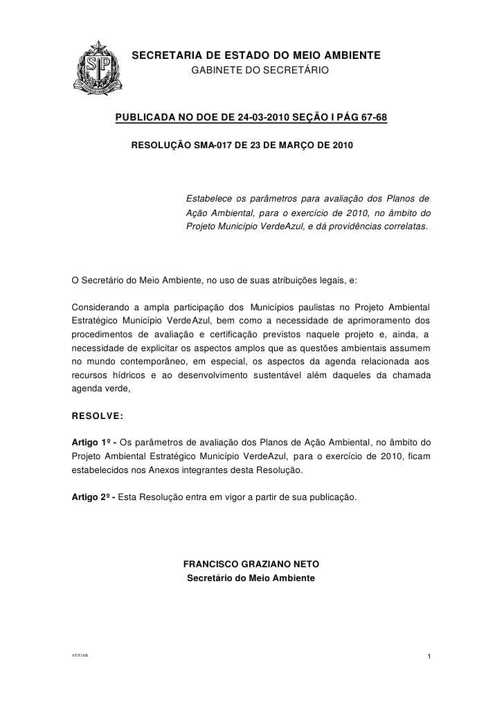 Anexo 4  - resolução SMA projeto Município VerdeAzul
