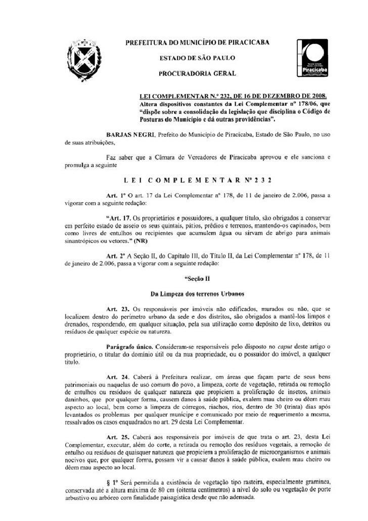 PREFEITURA DO MUNICÍPIO DE PIRACICABA                           Estado de São Paulo                               Procurad...