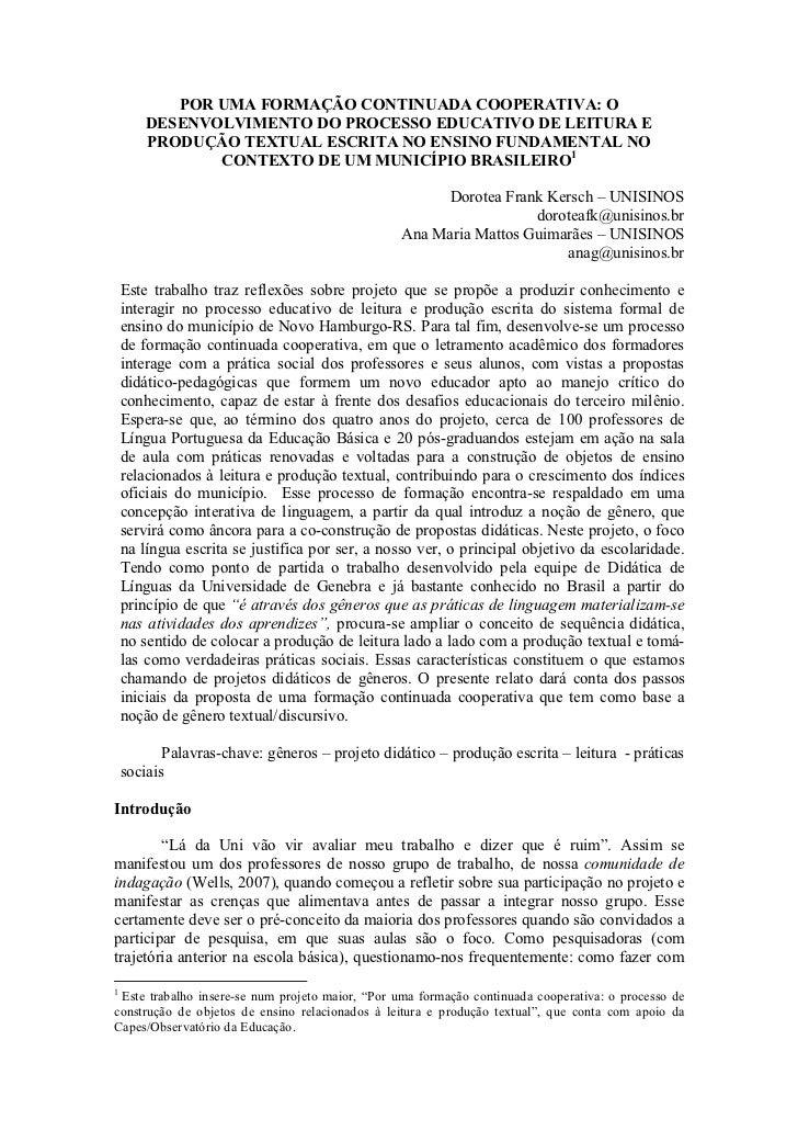 POR UMA FORMAÇÃO CONTINUADA COOPERATIVA: O        DESENVOLVIMENTO DO PROCESSO EDUCATIVO DE LEITURA E        PRODUÇÃO TEXTU...