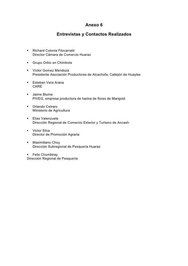 Anexo 6                      Entrevistas y Contactos Realizados      Richard Colonia Fitzcarrald     Director Cámara de C...