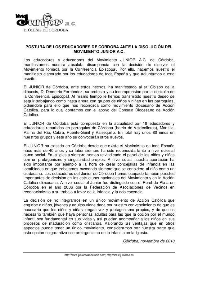 DIÓCESIS DE CÓRDOBA POSTURA DE LOS EDUCADORES DE CÓRDOBA ANTE LA DISOLUCIÓN DEL                    MOVIMIENTO JUNIOR A.C.L...