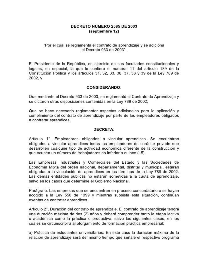 """DECRETO NUMERO 2585 DE 2003                              (septiembre 12)           """"Por el cual se reglamenta el contrato ..."""