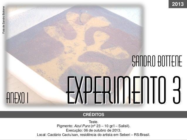 experimento3Teste. Pigmento: Azul Puro (nº 23 – 10 gr/l – Salisil). Execução: 06 de outubro de 2013. Local: Cactário Cactu...