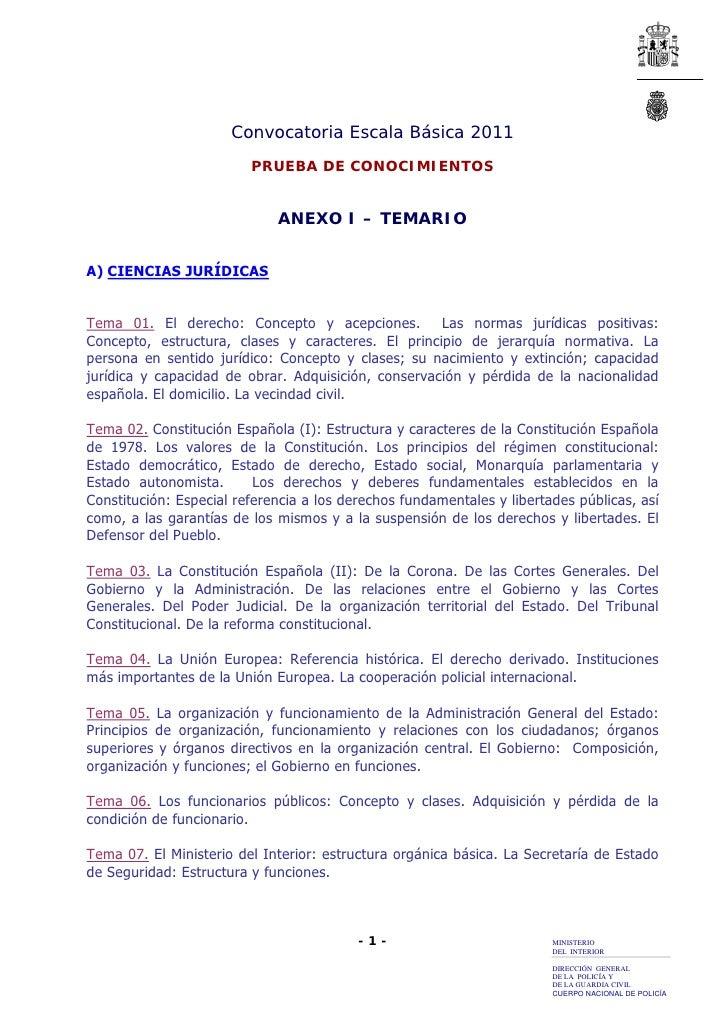 Convocatoria Escala Básica 2011                         PRUEBA DE CONOCIMIENTOS                             ANEXO I – TEMA...