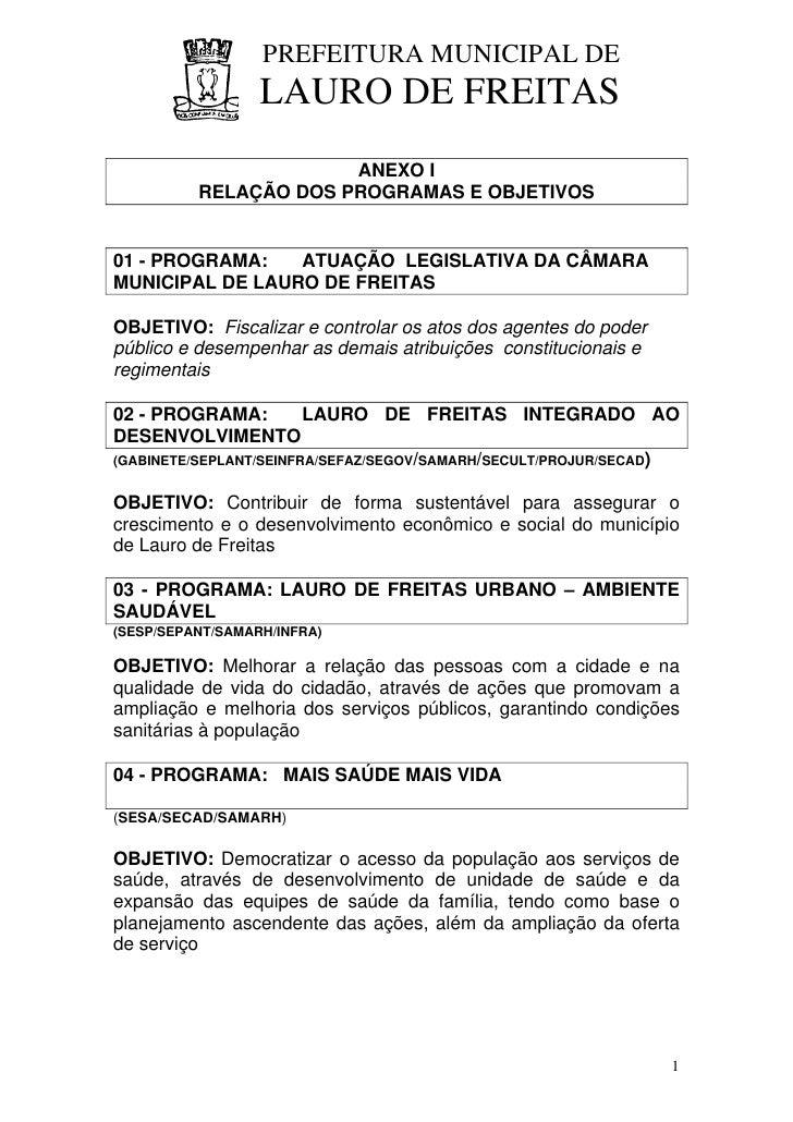 PREFEITURA MUNICIPAL DE                   LAURO DE FREITAS                        ANEXO I           RELAÇÃO DOS PROGRAMAS ...