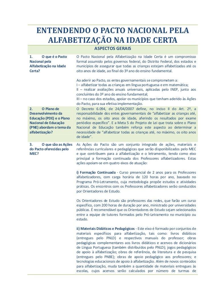 ENTENDENDO O PACTO NACIONAL PELA      ALFABETIZAÇÃO NA IDADE CERTA                                       ASPECTOS GERAIS1....