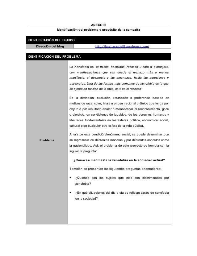 ANEXO III Identificación del problema y propósito de la campaña IDENTIFICACIÓN DEL EQUIPO Dirección del blog http://lascha...