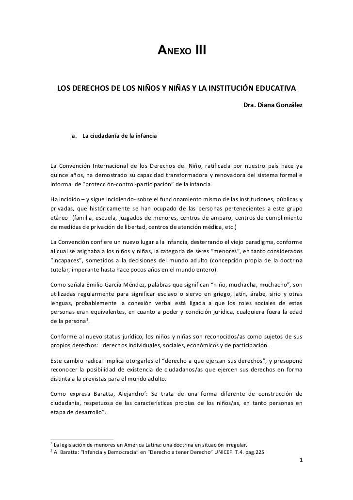 ANEXO III       LOS DERECHOS DE LOS NIÑOS Y NIÑAS Y LA INSTITUCIÓN EDUCATIVA                                              ...