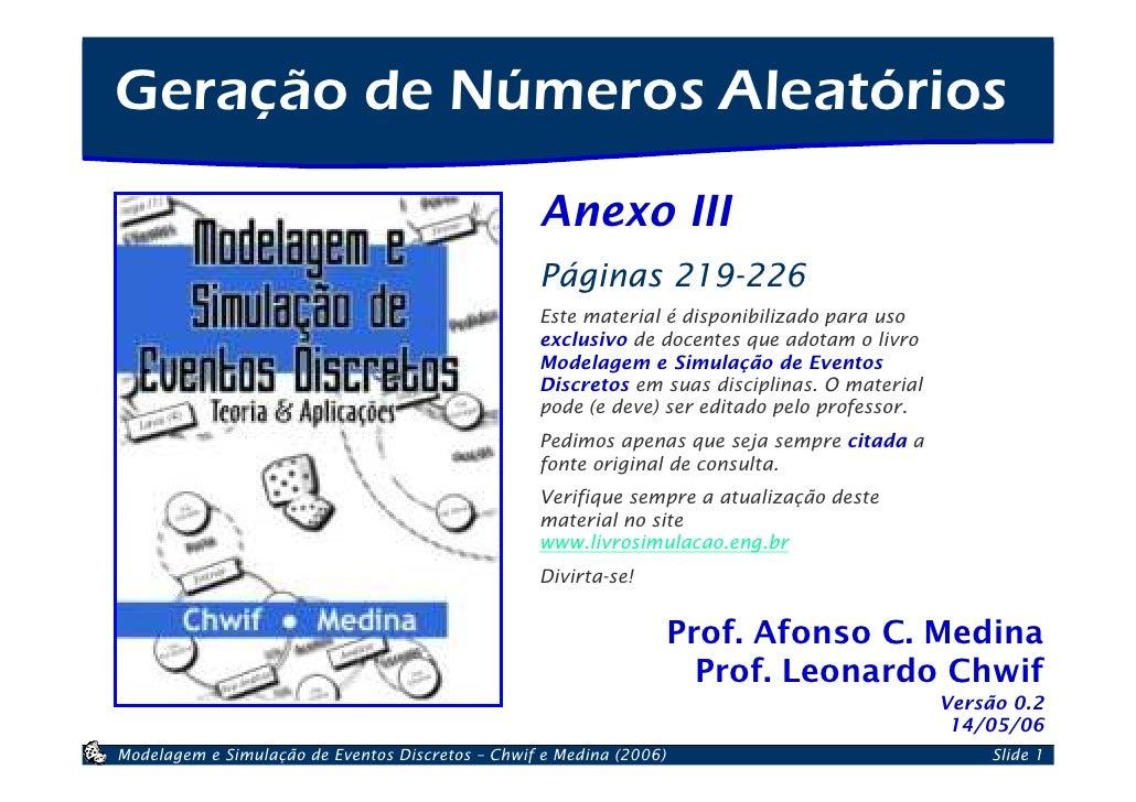 Geração de Números Aleatórios                                                   Anexo III                                 ...
