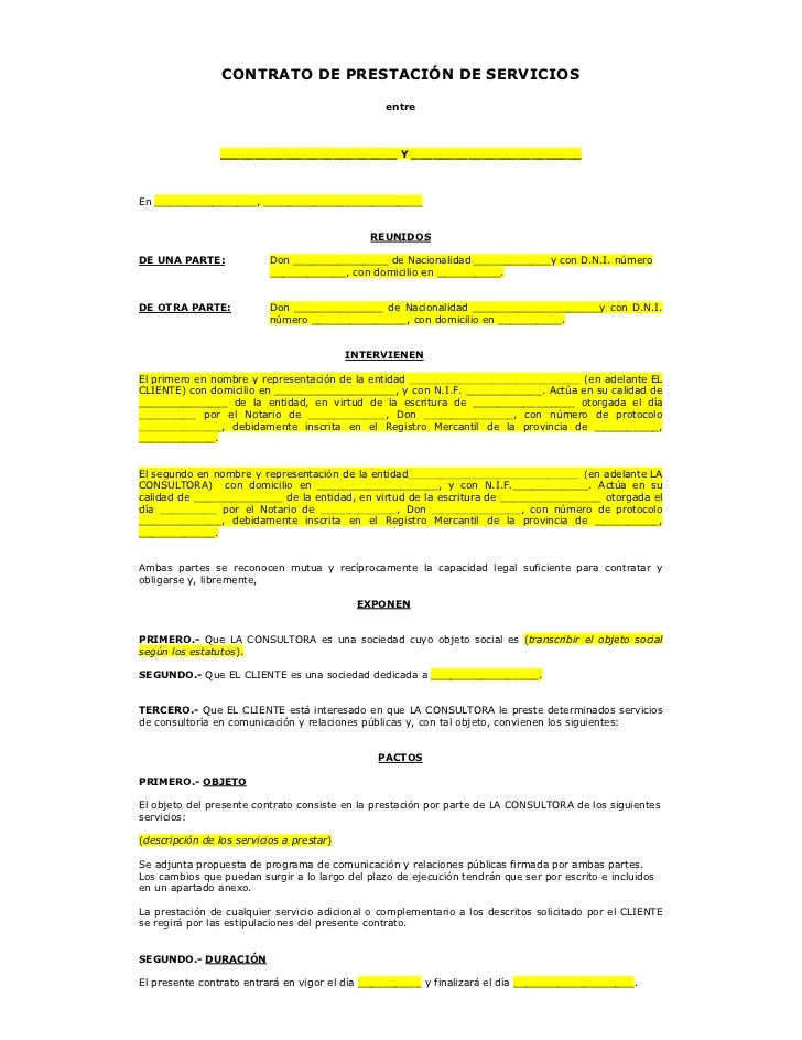 Anexo II modelo de contrato