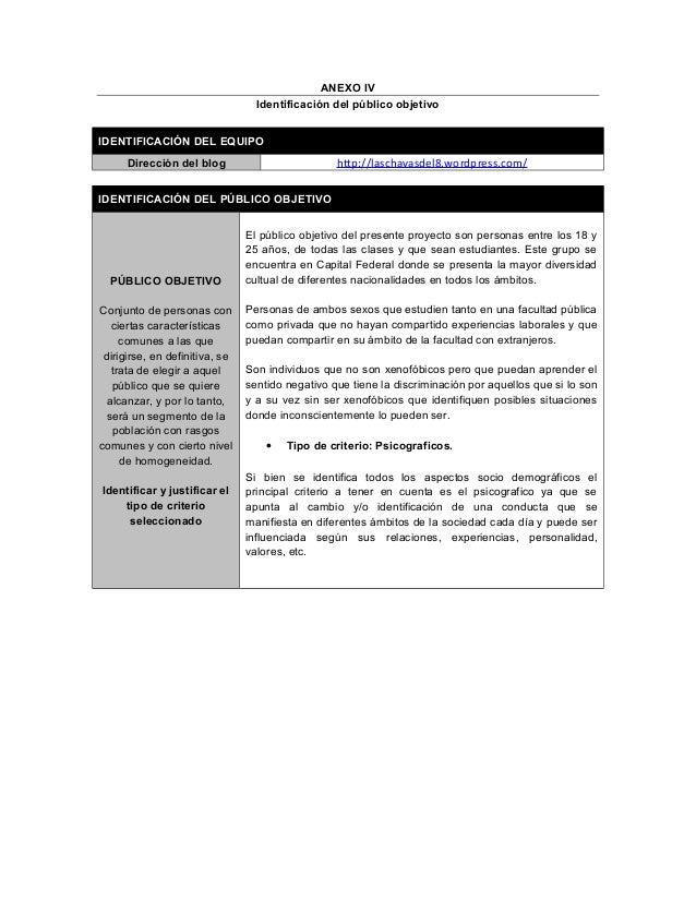 ANEXO IV Identificación del público objetivo IDENTIFICACIÓN DEL EQUIPO Dirección del blog http://laschavasdel8.wordpress.c...