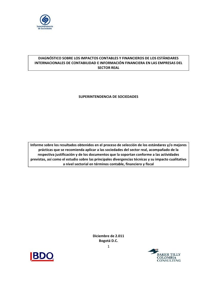 DIAGNÓSTICO SOBRE LOS IMPACTOS CONTABLES Y FINANCIEROS DE LOS ESTÁNDARES  INTERNACIONALES DE CONTABILIDAD E INFORMACIÓN FI...