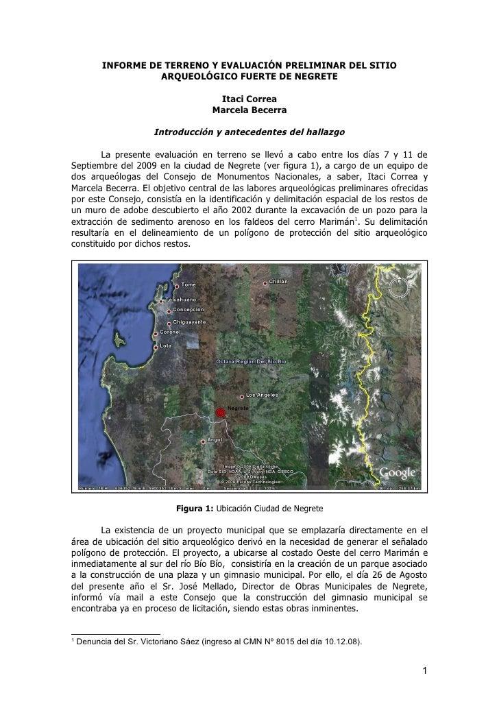 Anexo a Ordinario 4376-09: informe de terreno y evaluacion preliminar del Sitio Monumento Arqueologico Fuerte de Negrete y bases tecnicas para su caracterizacion