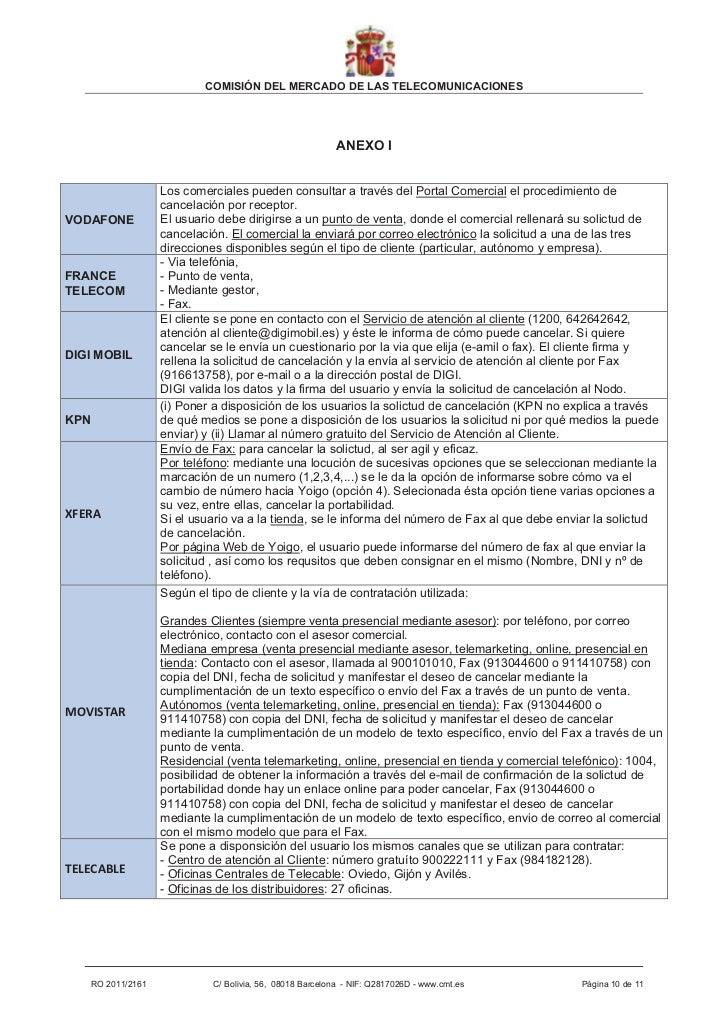 COMISIÓN DEL MERCADO DE LAS TELECOMUNICACIONES                                                           ANEXO I          ...