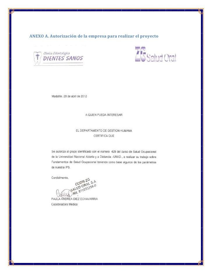 ANEXO A. Autorización de la empresa para realizar el proyecto