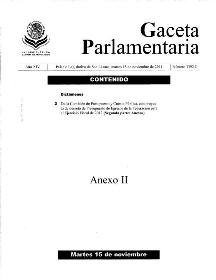 Anexos del Presupuesto Egresos Federación 2012