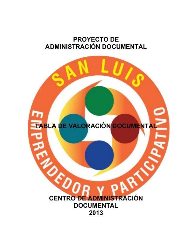 Anexos tabla de valoracion documental alcaldia municipal de san luis
