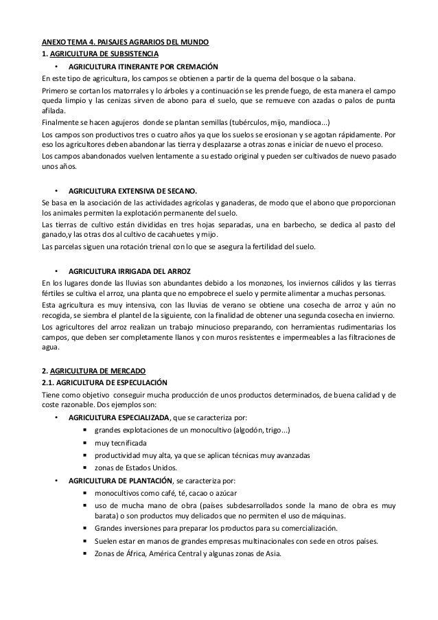 ANEXO TEMA 4. PAISAJES AGRARIOS DEL MUNDO1. AGRICULTURA DE SUBSISTENCIA     • AGRICULTURA ITINERANTE POR CREMACIÓNEn este ...