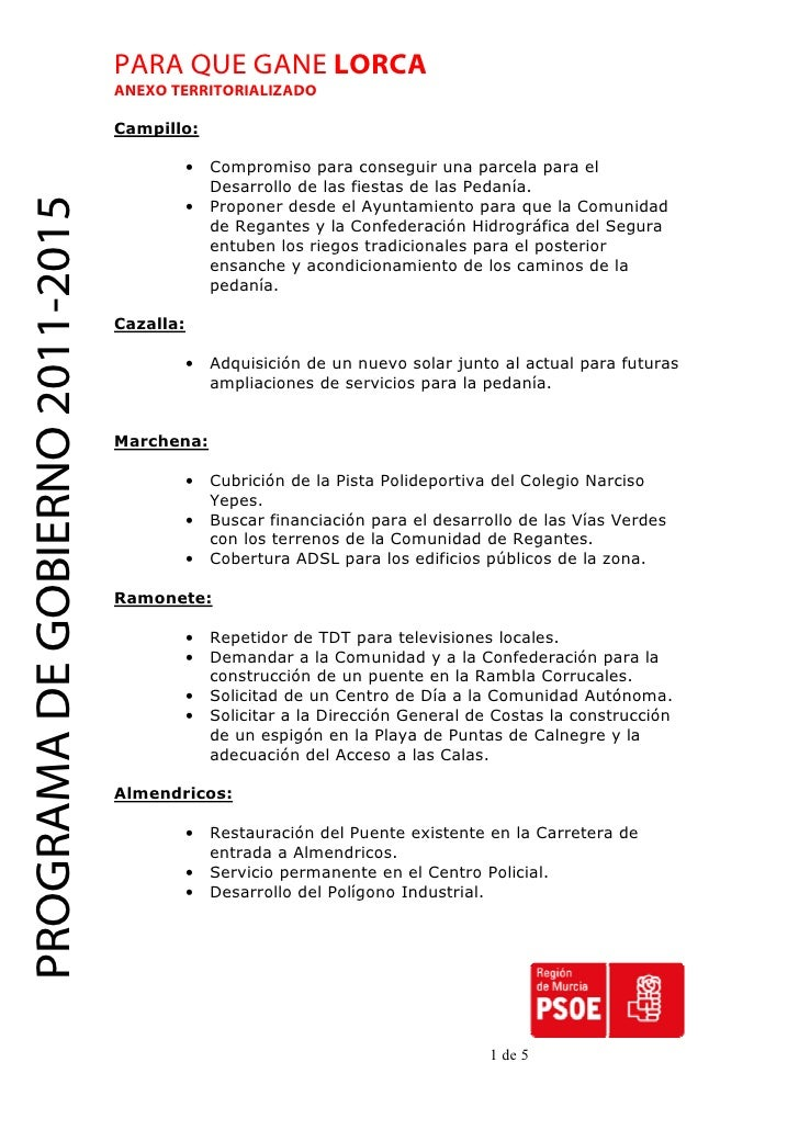 PARA QUE GANE LORCA                                 ANEXO TERRITORIALIZADO                                 Campillo:      ...