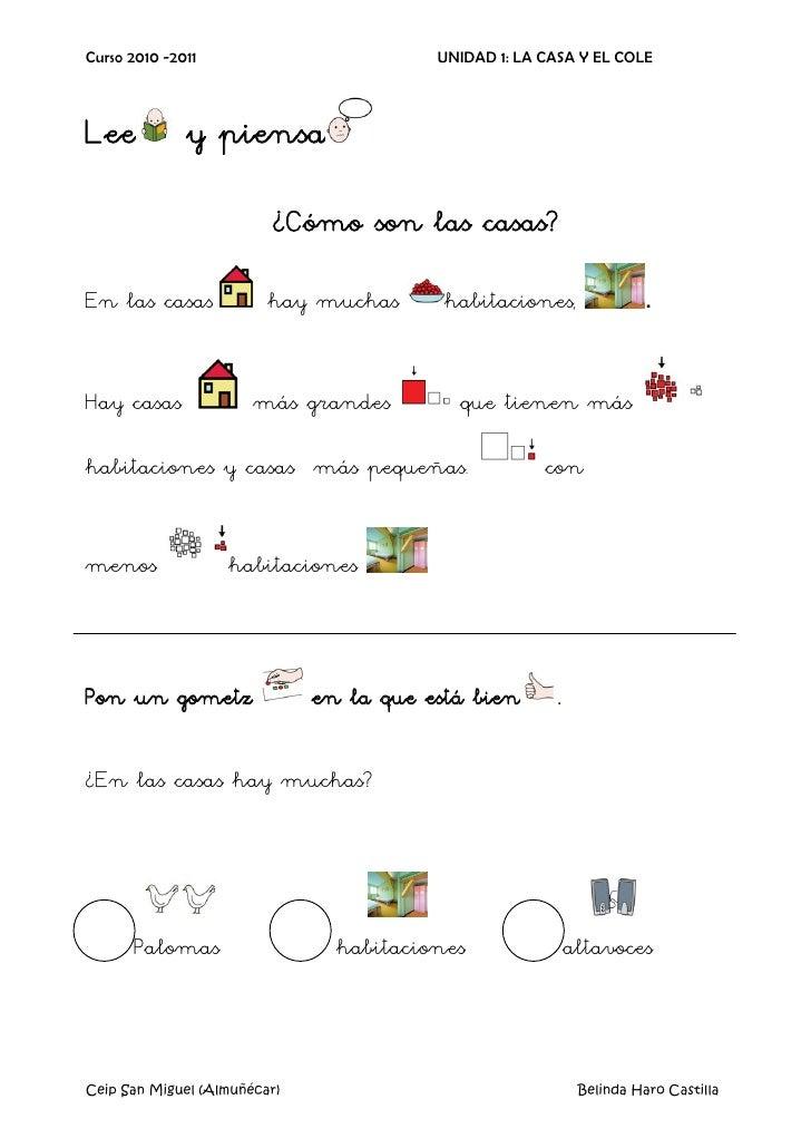 Curso 2010 -2011                         UNIDAD 1: LA CASA Y EL COLE    Lee           y piensa                            ...