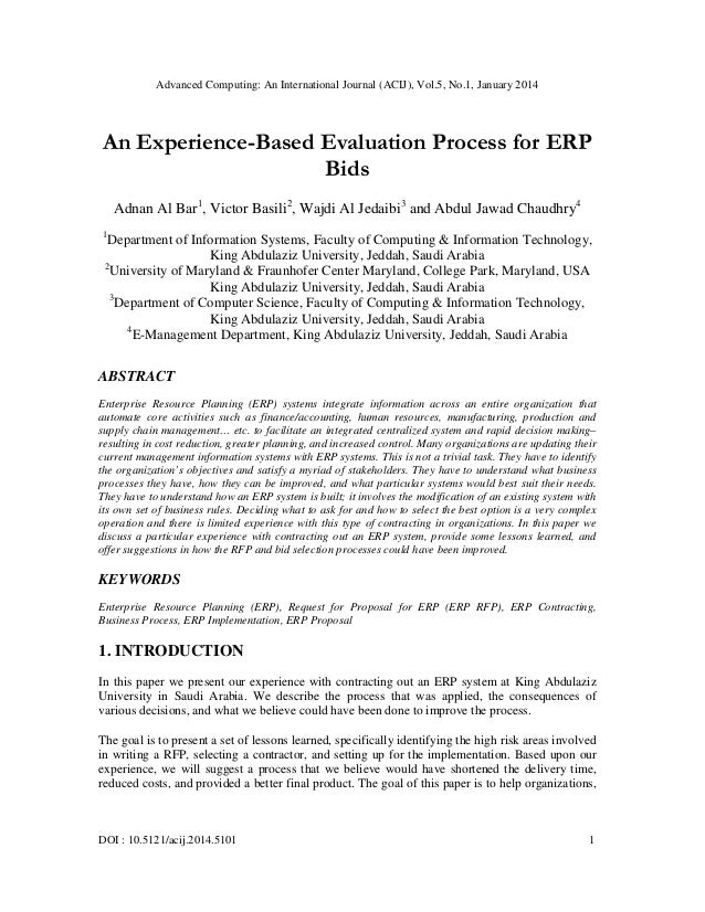 An experience based evaluation process for erp
