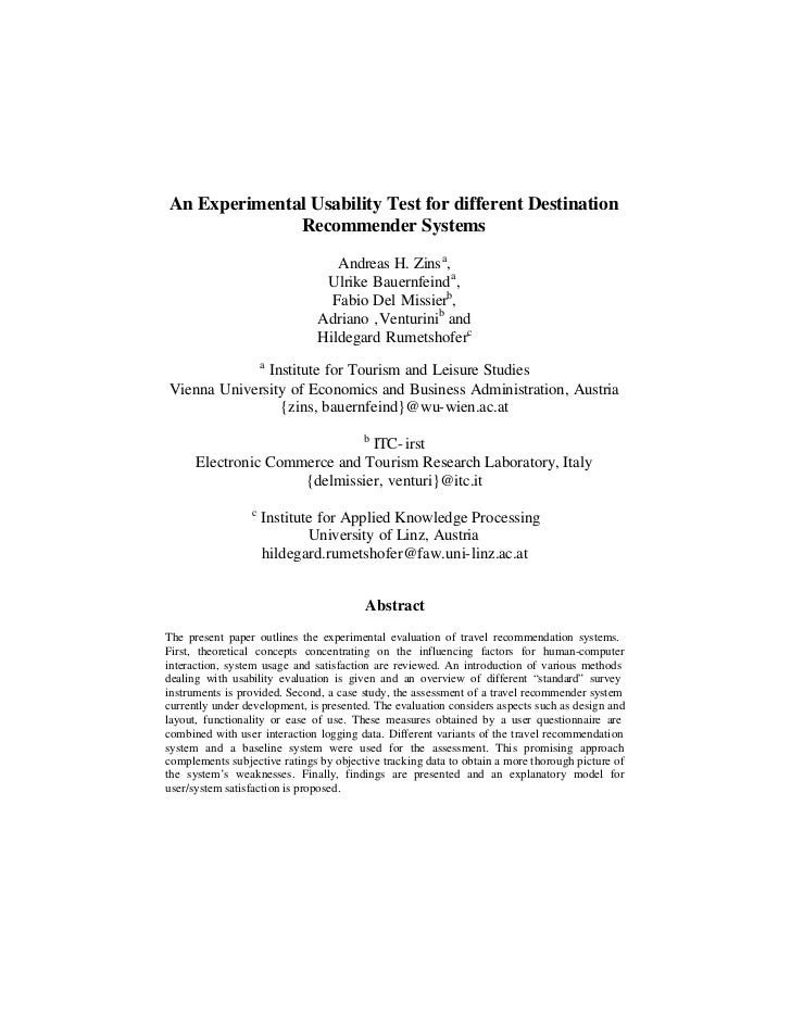 An Experimental Usability Test for different Destination              Recommender Systems                                 ...