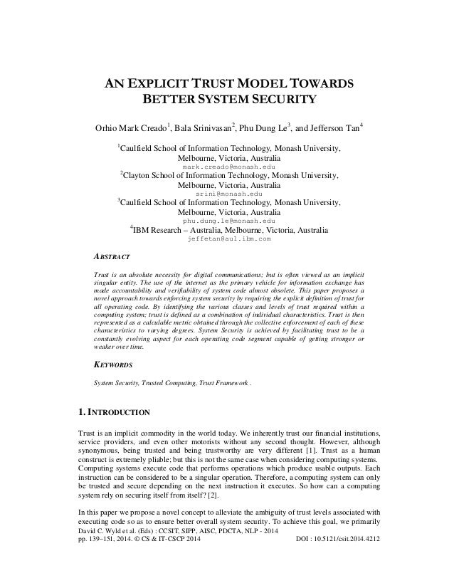 An explicit trust model towards better system security