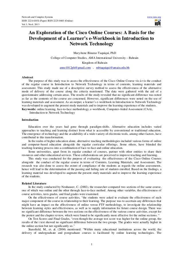 An exploration of the cisco online courses a basis for the development of a learner's e workbook in introduction to network technology