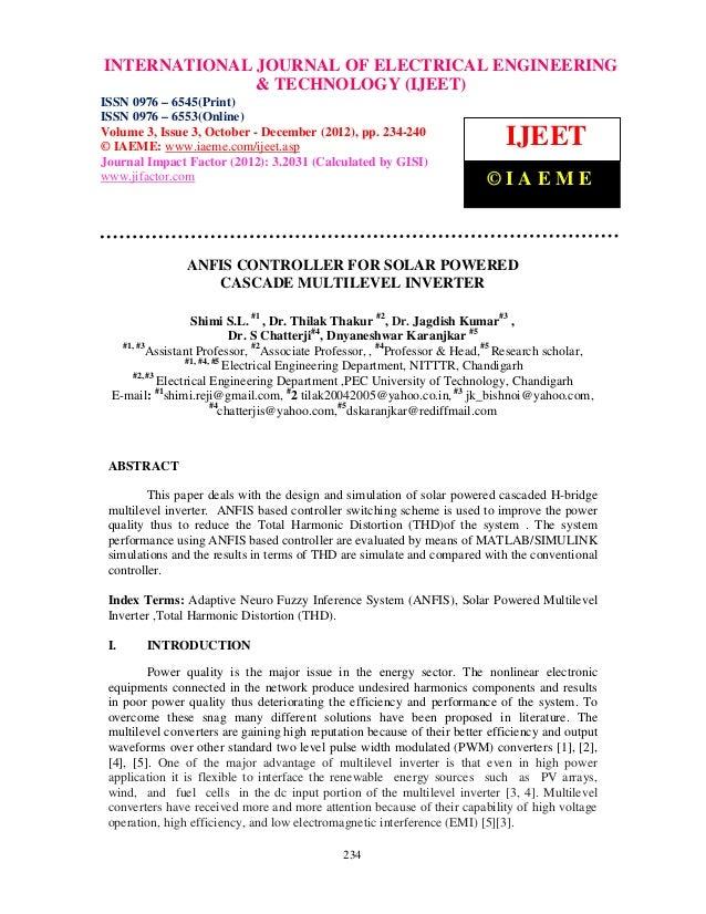 INTERNATIONAL Issue 3, October – December (2012), © IAEME 0976 – 6545(Print), ISSN International Journal of Electrical Eng...