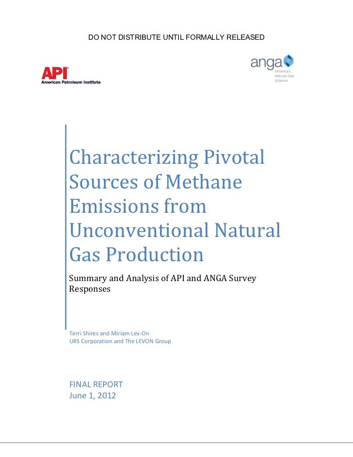 ANGA/API Study of Methane Emissions from Fracked Natural Gas Wells