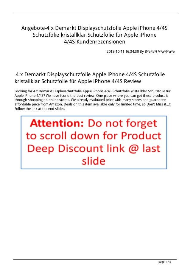 Angebote-4 x Demarkt Displayschutzfolie Apple iPhone 4/4S Schutzfolie kristallklar Schutzfolie für Apple iPhone 4/4S-Kunde...