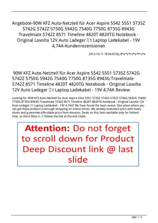 Angebote-90W KFZ Auto-Netzteil für Acer Aspire 5542 5551 5735Z 5742G 5742Z 5750G 5942G 7540G 7750G 8735G 8943G Travelmate ...