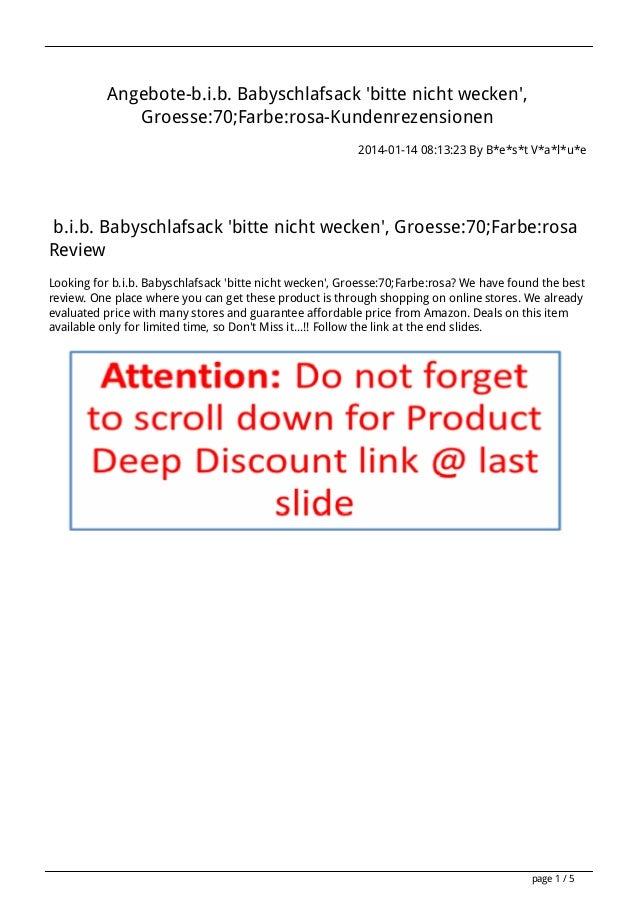 Angebote-b.i.b. Babyschlafsack 'bitte nicht wecken', Groesse:70;Farbe:rosa-Kundenrezensionen 2014-01-14 08:13:23 By B*e*s*...