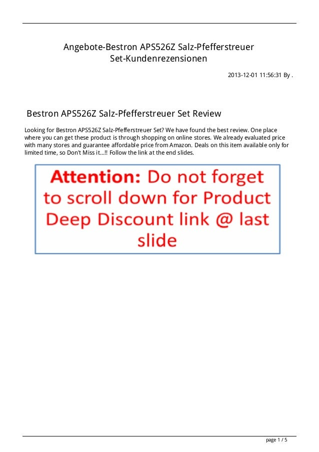 Angebote-Bestron APS526Z Salz-Pfefferstreuer Set-Kundenrezensionen 2013-12-01 11:56:31 By .  Bestron APS526Z Salz-Pfeffers...