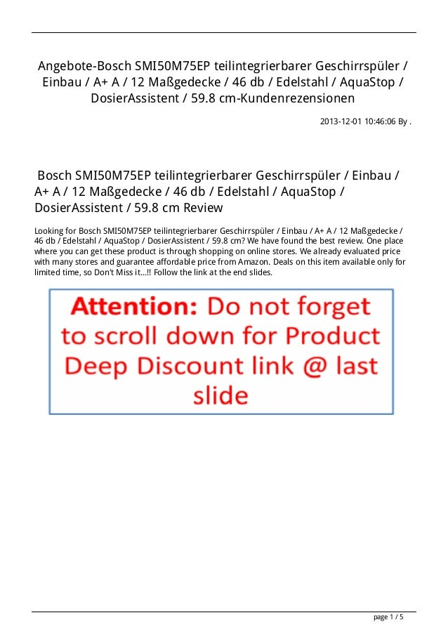Angebote-Bosch SMI50M75EP teilintegrierbarer Geschirrspüler / Einbau / A+ A / 12 Maßgedecke / 46 db / Edelstahl / AquaStop...